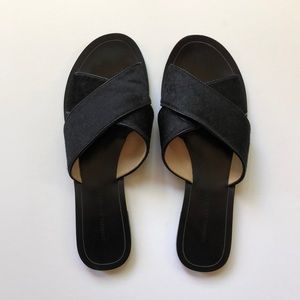 Banana Republic Leather and Fur Slipper Sandals